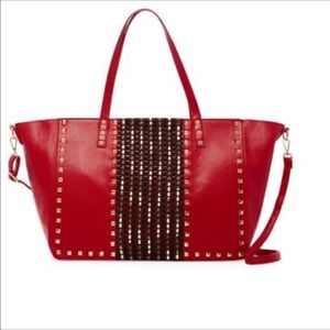 🌸NEW Oversized Red Studded Tote!